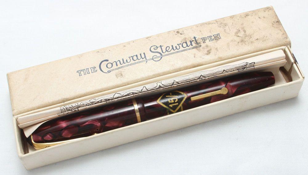 8445 Conway Stewart No.15 in Burgundy Marble - Smooth Medium Flex Nib. Mint