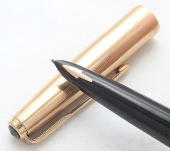 8446. Parker 61 MkII in Black with a rolled gold cap, Smooth Fine FIVE STAR Nib.
