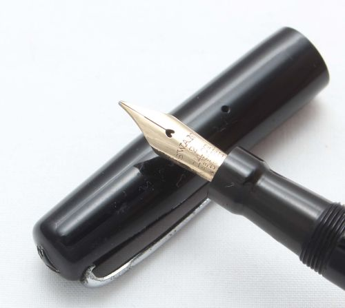 8435 Swan (Mabie Todd) Self Filling Fountain Pen in Smooth Black Hard Rubbe