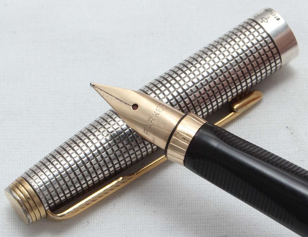 8477. Parker 75 in Sterling Silver Ciselle, Smooth Extra Fine FIVE STAR Nib