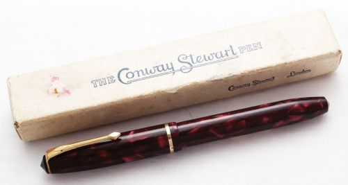 8483 Conway Stewart No.15 in Burgundy Marble, Superb Broad FIVE STAR Nib. B