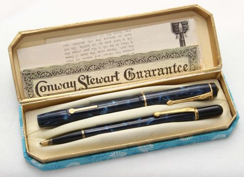 8489 Conway Stewart No.759 Fountain Pen and Propelling Pencil Set in Blue M