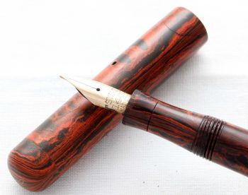 8496. Superb Early Swan (Mabie Todd)  SF1 Fountain Pen in Woodgrain. Superb Fine Flex FIVE STAR Nib.
