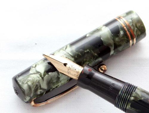 8497 Swan (Mabie Todd) Self Filling Fountain Pen in Green Marble. Medium Fl