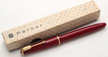 8500 Parker Duofold Junior Aerometric Fountain Pen in Burgundy. c1968. Medium Nib. Boxed.
