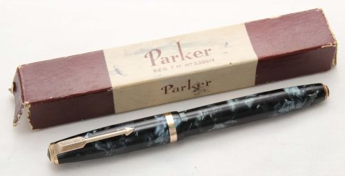 8501 Parker Duofold Button Filler in Blue Marble. Fantastic Broad FIVE STAR