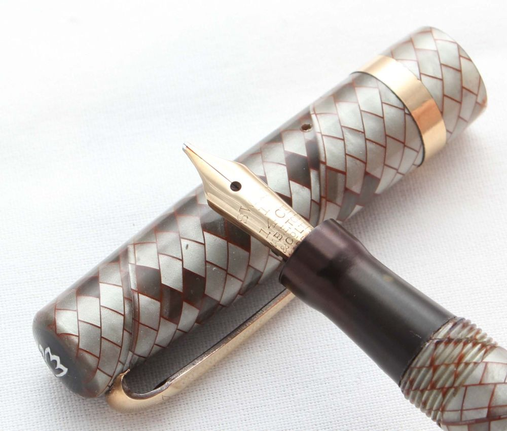 8534 Swan (Mabie Todd) Self Filler Fountain Pen in Red Veined Grey Snakeski
