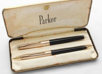 8561 Parker 61 Custom Double Set in Classic Black with Rolled Gold Caps. Fine FIVE STAR Nib. Mint and Boxed.