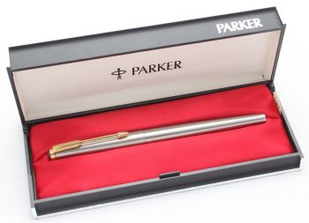 8567 Parker Falcon Fountain Pen, Finished in brushed Stainless Steel, Smooth Fine nib. Mint and Boxed