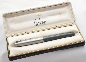 8573 Parker 51 Aerometric in Grey with a lustraloy cap. Smooth Medium FIVE STAR Nib. Mint and Boxed.