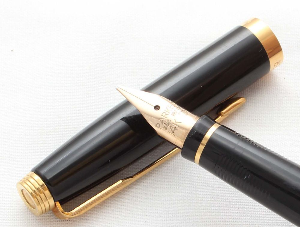 8605. Parker 75 in Black Lacquer. Smooth Broad FIVE STAR Nib.