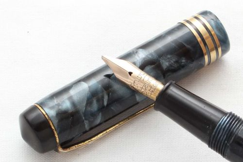 8607 Conway Stewart No.388 in Blue Marble. Medium Italic FIVE STAR Nib.