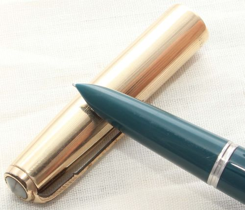 8634. Parker 51 Aerometric in Teal Blue with a Rolled Gold Cap, Smooth Fine