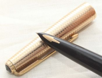 8648 Parker 61 Consort in Classic Black with a Rolled Gold Cap. Fine Nib.