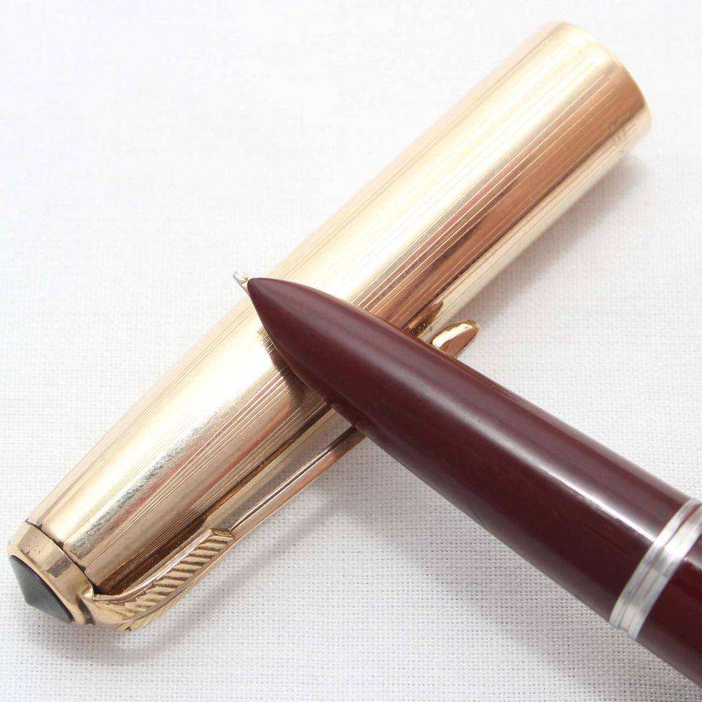 8653. Parker 51 Aerometric in Burgundy with a Rolled Gold Cap, Smooth Fine