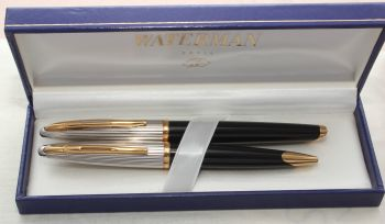 8682 Watermans Carene Fountain Pen and Ball Pen Set in Black and Silver. Mint and Boxed. Smooth Broad FIVE STAR Nib.