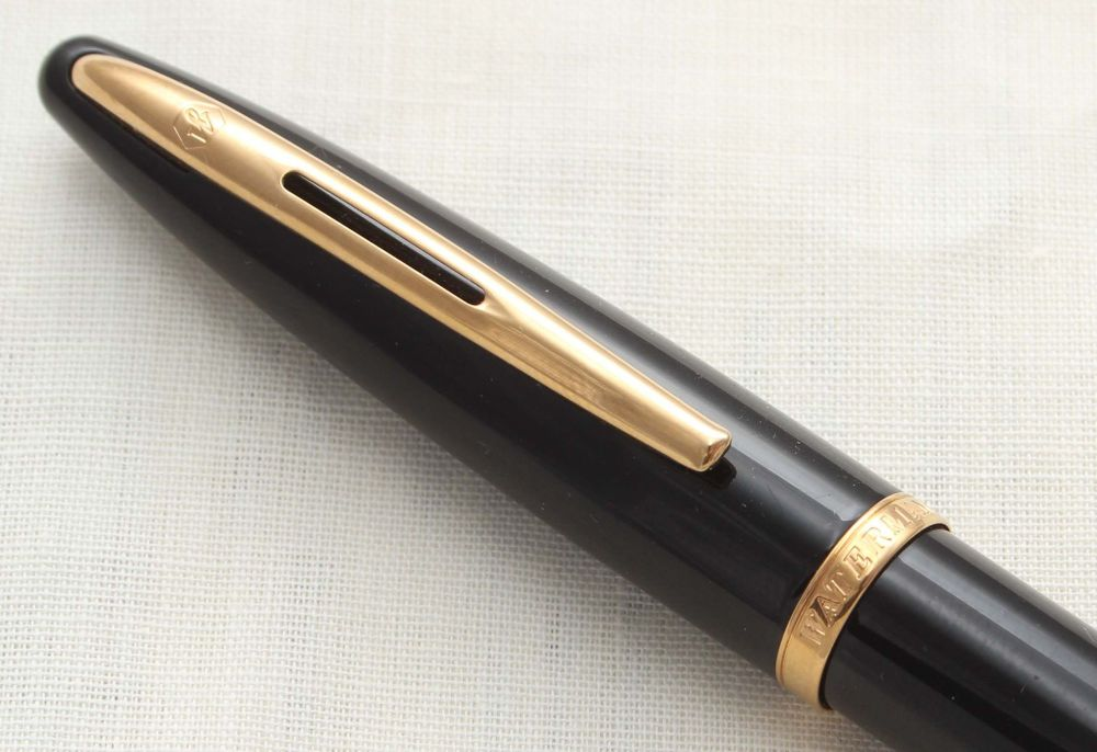 8697 Watermans Carene Ball Pen Set in Black Lacquer with Gold Filled trim.