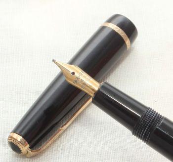 8717 Parker Duofold Slimfold in Black, Fantastic Medium FIVE STAR Nib.