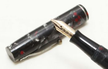 8718 Watermans Ideal No.3 in Grey and Red Marble. Medium Italic FIVE STAR Nib.