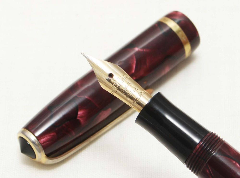 8724 Burnham B48 in Burgundy Marble. Fabulous Medium FIVE STAR Nib.