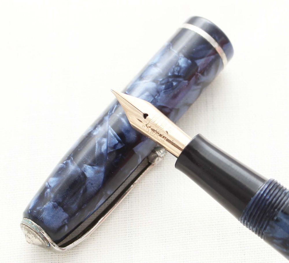8736 Conway Stewart No.75 in Blue Marble. Medium FIVE STAR Nib.