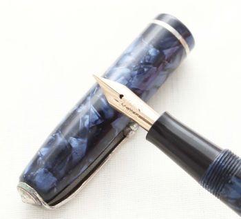 8736 Conway Stewart No.75 in Blue Marble. Medium FIVE STAR Nib.