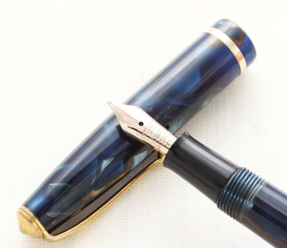 8747 Conway Stewart No.12 in Blue Marble. Medium FIVE STAR Nib.