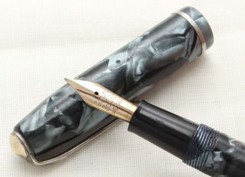 8749 Conway Stewart No.75 in Blue Marble. Fine side of Medium FIVE STAR Nib