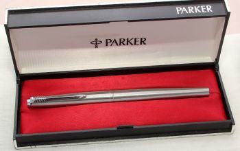 8770 Parker 45 CT Flighter in Brushed Stainless Steel. Smooth Medium Nib. Mint and Boxed.