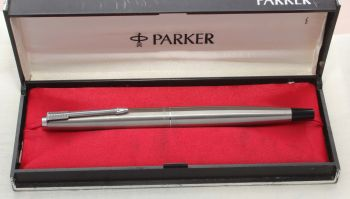 8774 Parker 45 CT Flighter in Brushed Stainless Steel. Smooth Medium Italic FIVE STAR Nib. Mint and Boxed.