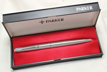 8782 Parker 45 CT Flighter in Brushed Stainless Steel. Smooth Medium Nib. Mint and Boxed.
