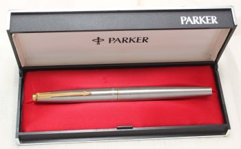 8788 Parker 45 GT Flighter in Brushed Stainless Steel. Smooth Medium FIVE STAR Nib. Mint and Boxed.