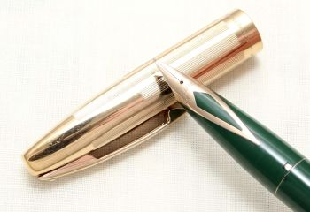 8802 Sheaffer Imperial Fountain Pen in Green with a Rolled Gold Cap, Fine FIVE STAR Nib.