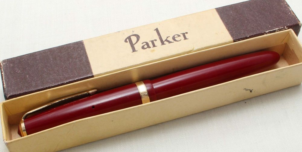 8824 Parker Duofold in Burgundy, c1965. Smooth Medium FIVE STAR Nib.