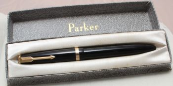 8830 Parker Duofold Maxima in Black, Large No.50 Fine Side of Medium FIVE STAR Nib. Boxed.