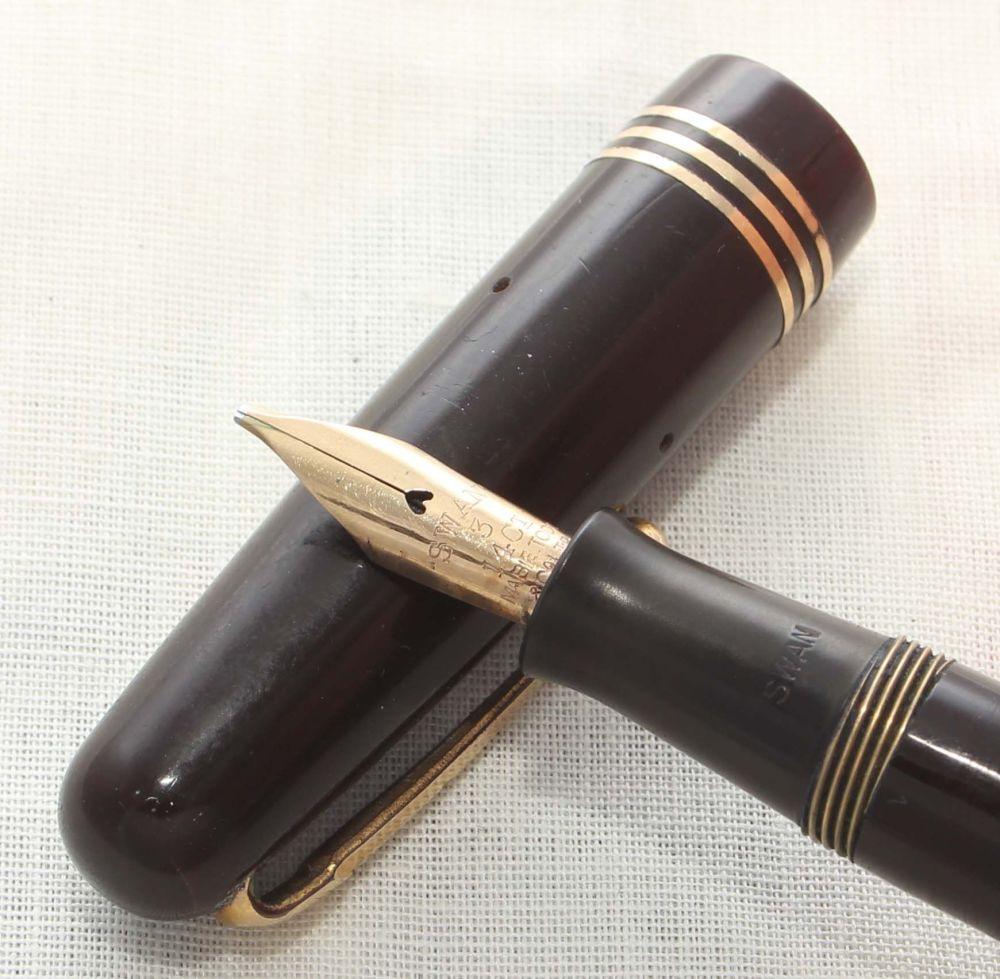 8859 Swan (Mabie Todd) Self Filler 3350 Fountain Pen in Dark Brown with Gol