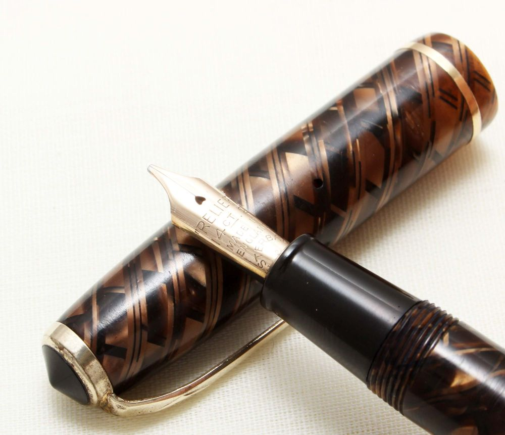 8871 Esterbrook Relief No.12 Fountain Pen in Tiger Eye (Made by Conway Stew