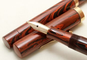 8872 Watermans Ideal No.52 Fountain Pen and Pencil Red Ripple. Fabulous Medium Flexible FIVE STAR Nib.