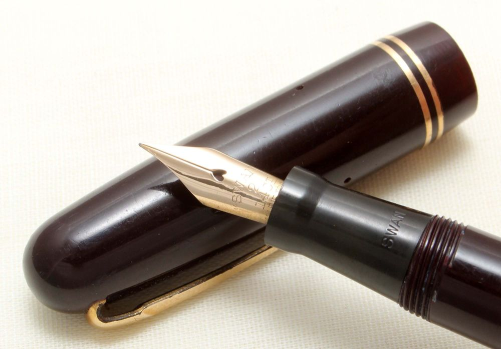 8877 Swan (Mabie Todd) Self Filler 3250 Fountain Pen in Dark Brown. Smooth