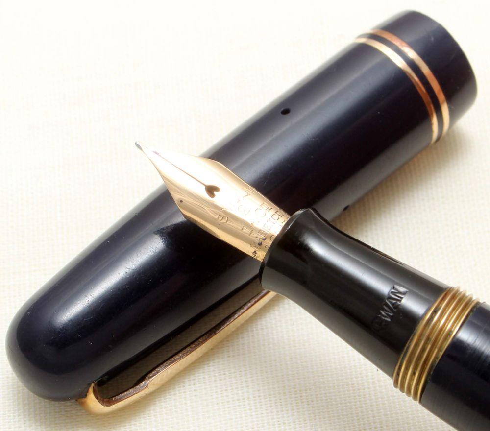 8881 Swan (Mabie Todd) Self Filler 3220 Fountain Pen in Dark Blue. Smooth E