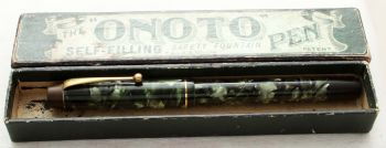 "8899 Onoto ""The Pen"" No.5601 in Green Marble. Superb Fine Flex FIVE STAR Nib. Boxed."