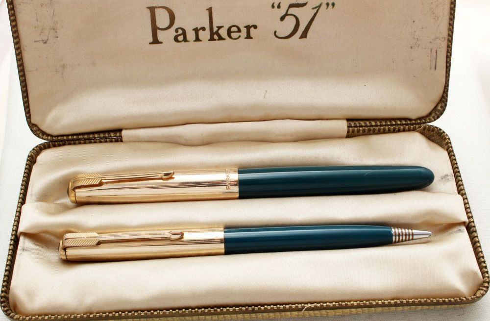 8905 Parker 51 Double Set in Teal Blue with Rolled Gold caps. Mint and Boxe