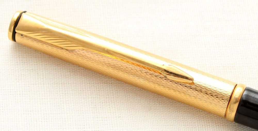 8909 Parker Insignia Ball Pen, Gold Filled cap with a Black Barrel. New Old