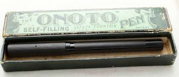"8913 Onoto ""The Pen"" in Black Chased Hard Rubber. NOS,  Superb Medium FIVE STAR Nib. Boxed."