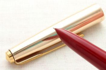 8941 Parker 51 Aerometric MkIII in Rage Red with a Rolled Gold Cap. Smooth Fine Nib.