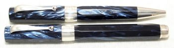 8962 Montegrappa 1912 Rollerball and Ball Pen Set in Blue Marble and Sterling Silver Trim.