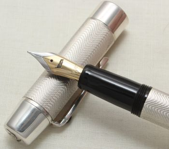 "8932 Bespoke British Pens ""Shakespeare Fountain Pen"" in Sterling Silver. Medium nib. Mint and Boxed."