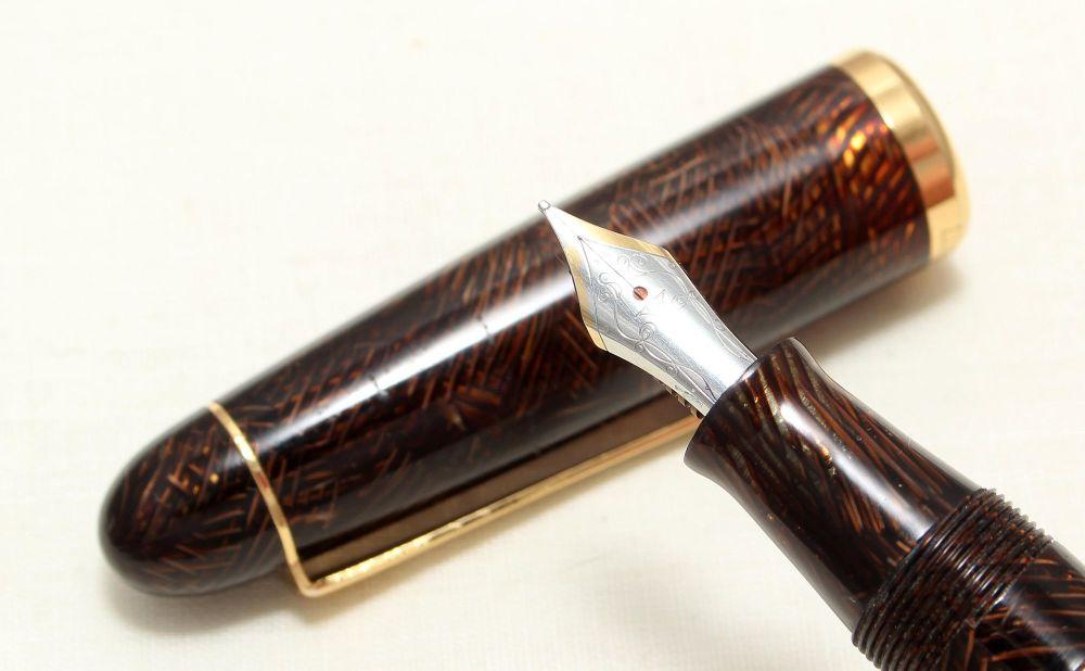 8991 Visconti Fountain Pen in the rare transparent brown mesh. Smooth Mediu