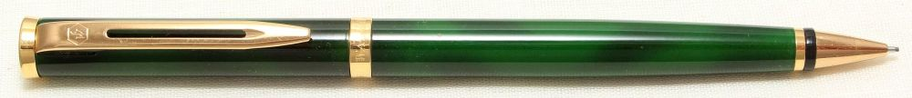 8995 Watermans Preface Pencil in Green Swirl Lacquer with Gold Filled trim.