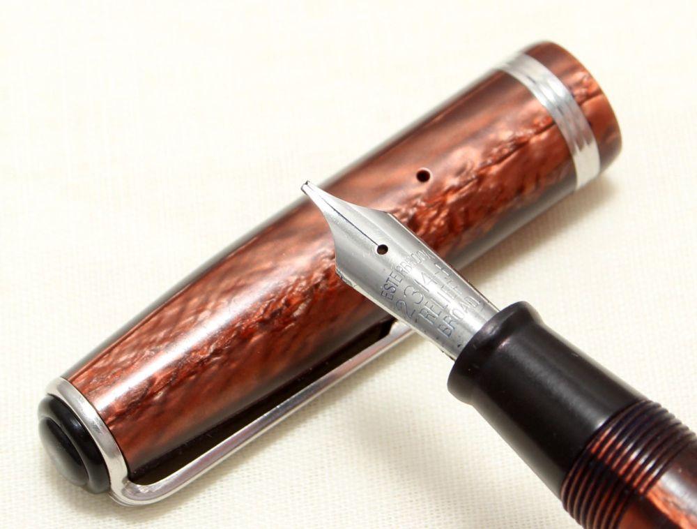 9013 Esterbrook J Fountain Pen in Copper Marble. Fabulous Broad Five Star N